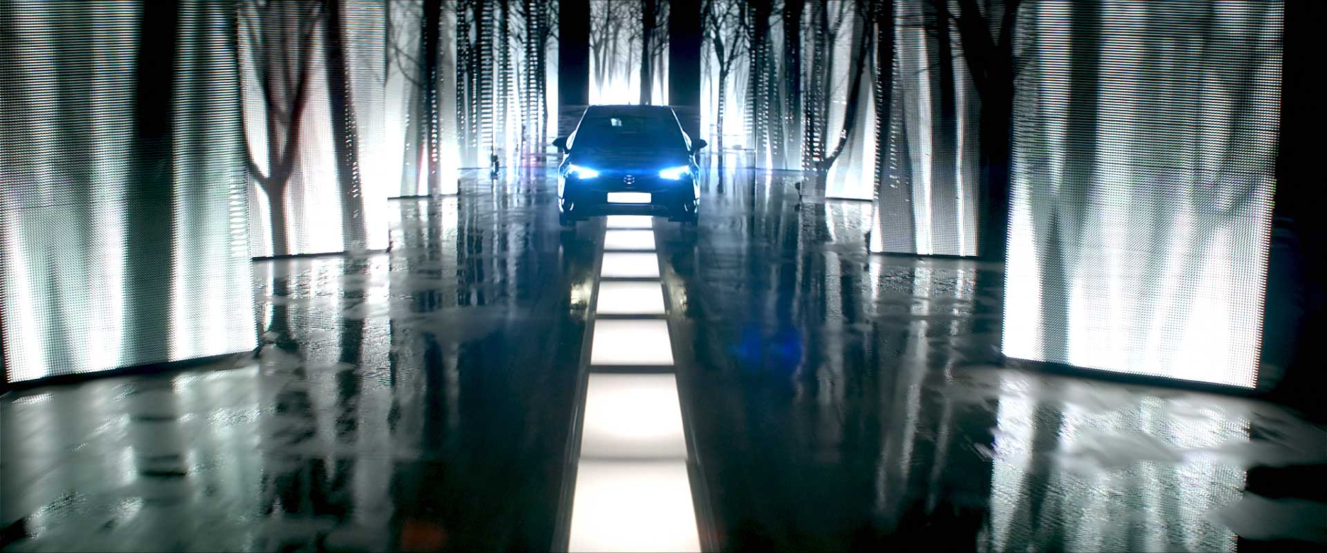 Car on artificial road. Still from Toyota Avensis - Commercial