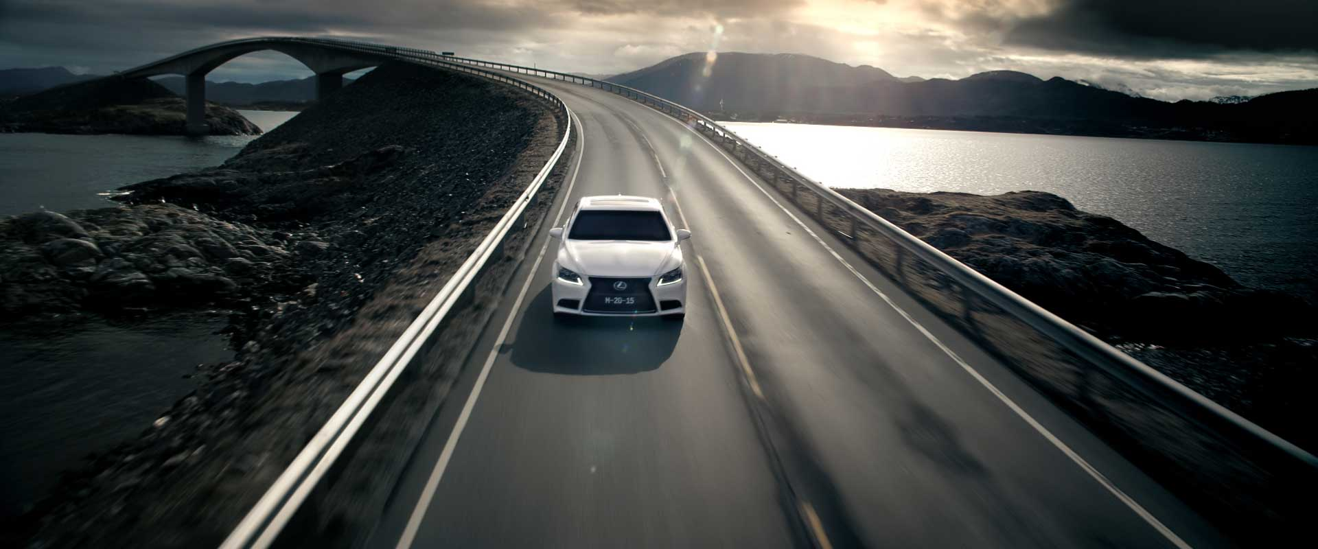 Car on countryroad. Still from Lexus Commercial.