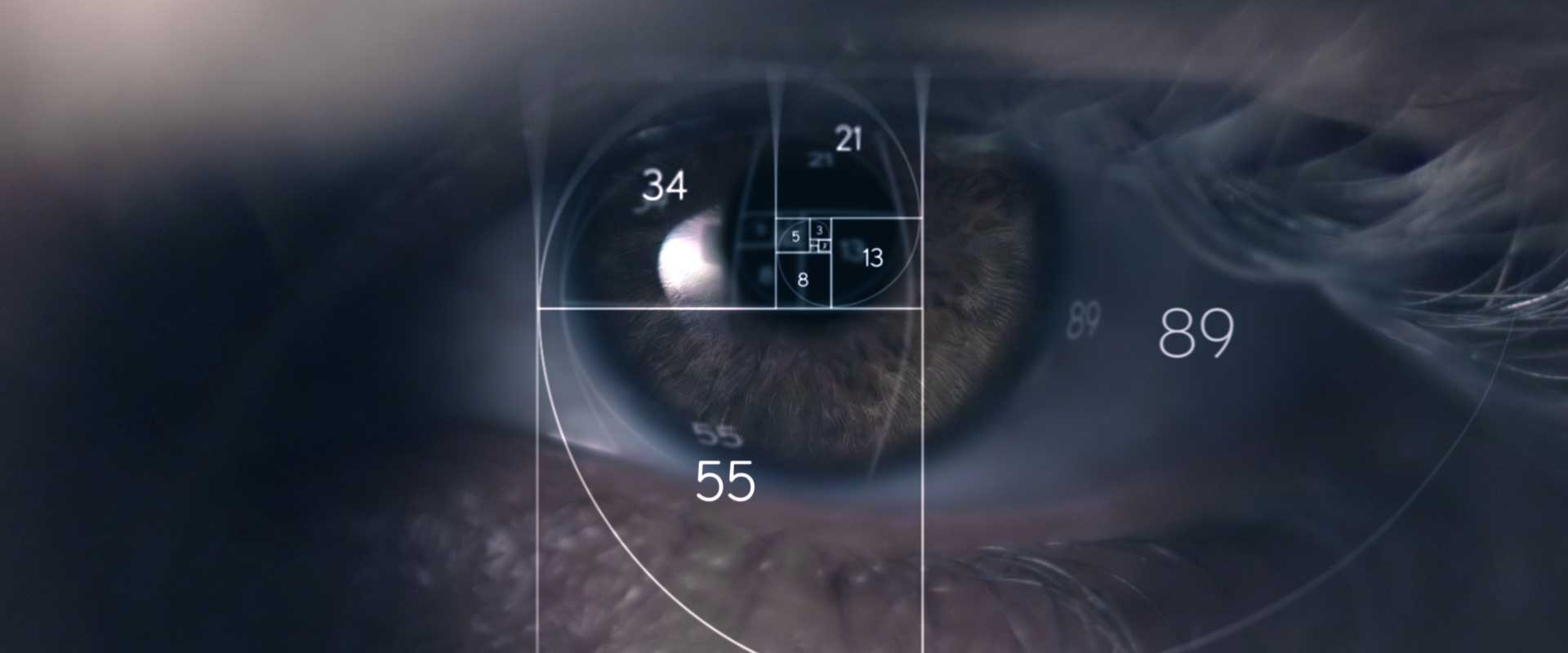 Eye with fonts and lines. Still from Lexus Commercial.