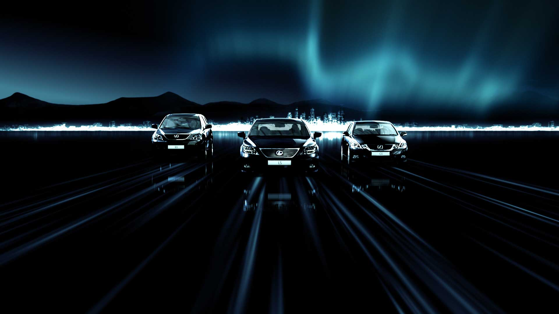 Three cars. Still from Lexus Hybrid Drive Commercial