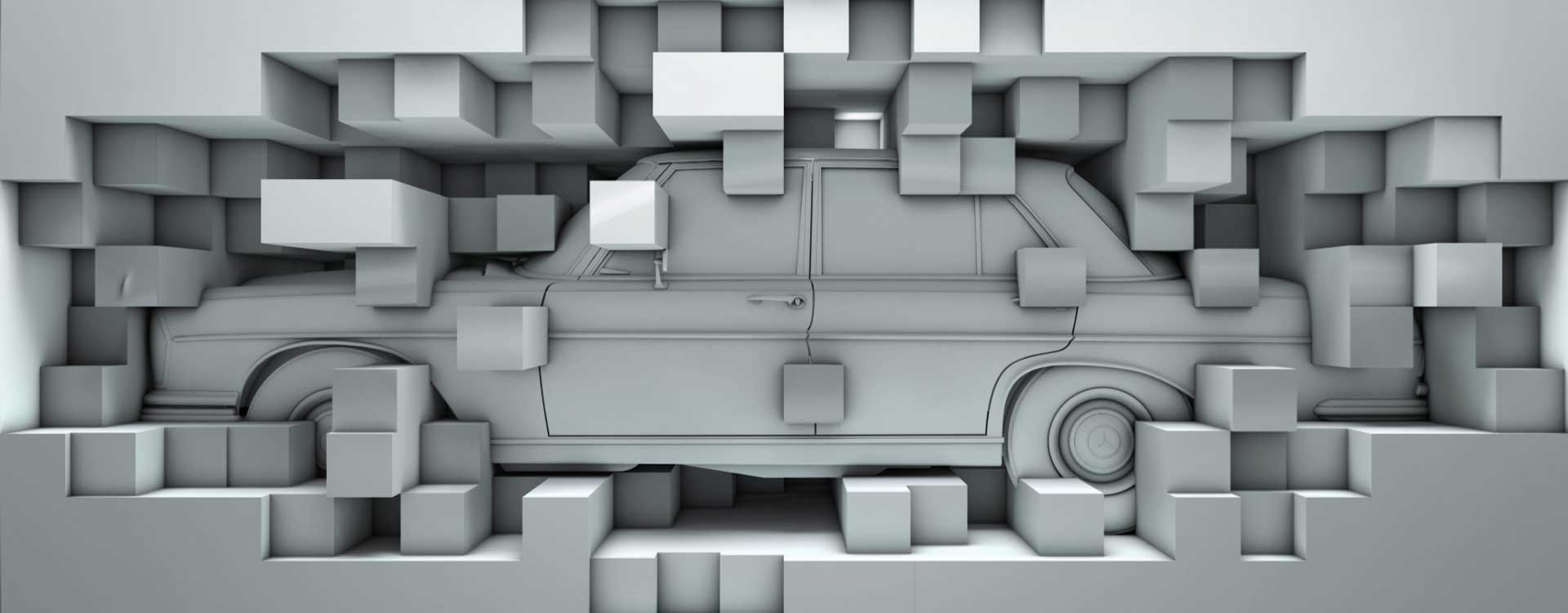 White oldtimer in cubes. Still from Mercedes-Benz Commercial.