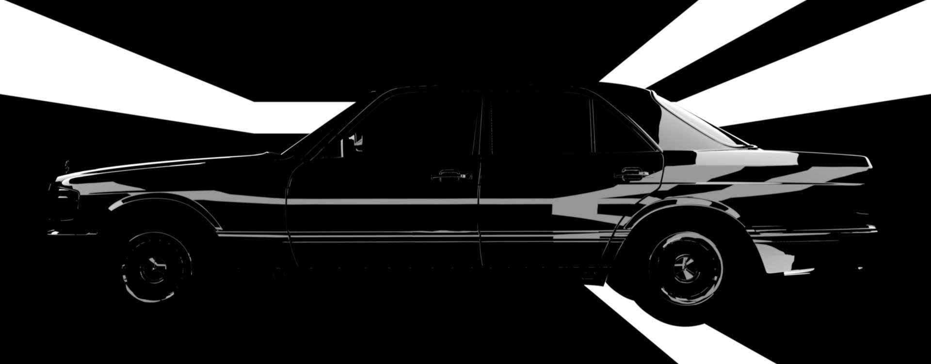 Car in black. Still from Mercedes-Benz Commercial.