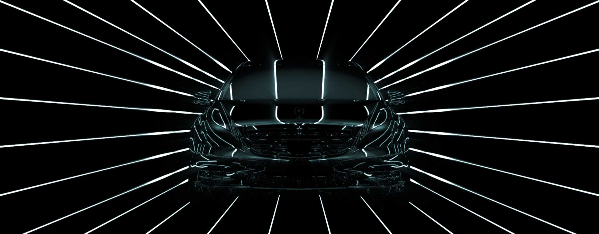 Car frontview. Still from Mercedes-Benz Commercial.