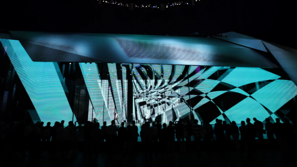 People in front of stage. Mercedes-Benz IAA 2011 Trade Show
