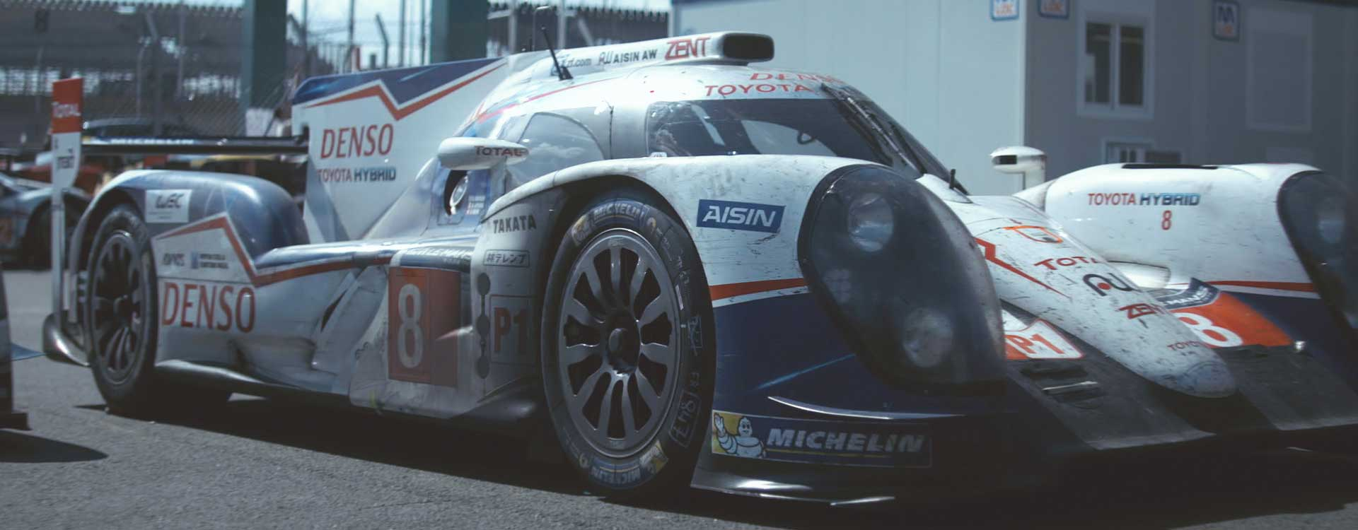 Racing car frontal view. Still from Toyota Hybrid Racing - Commercial Barbeque Design