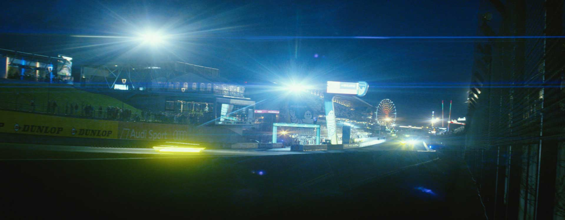 Racetrack by night. Still from Toyota Hybrid Racing - Commercial Barbeque Design