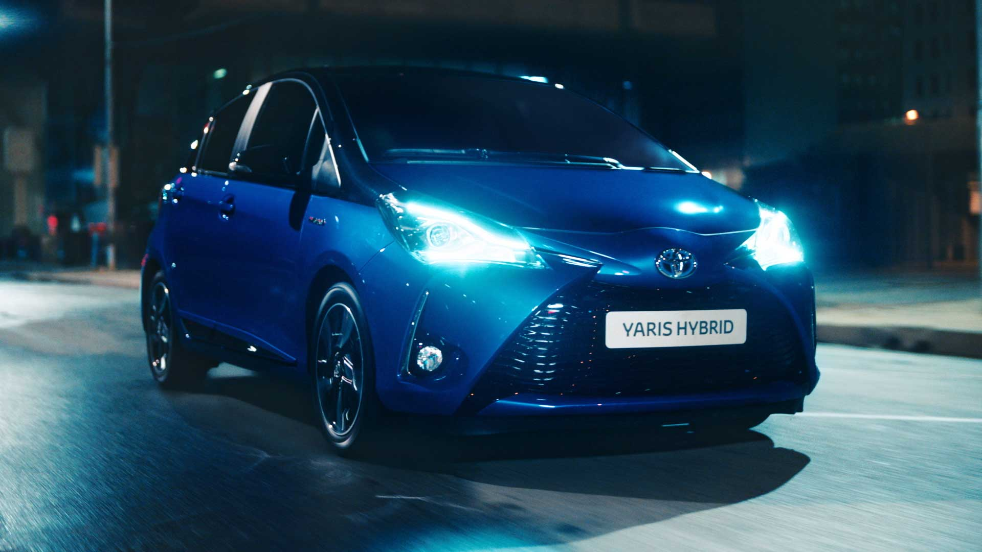 Car with lights. Still from Toyota Yaris commercial.