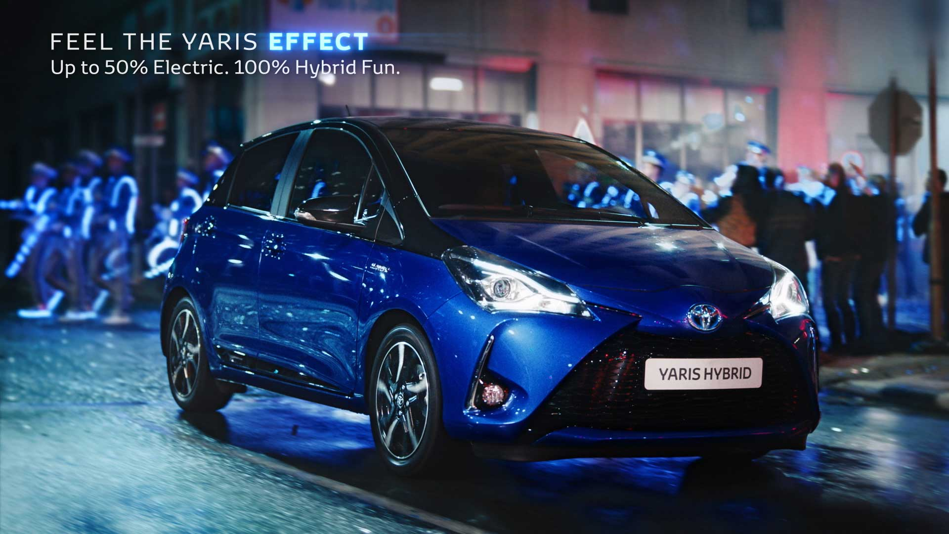 Car at night with lights. Still from Toyota Yaris commercial.
