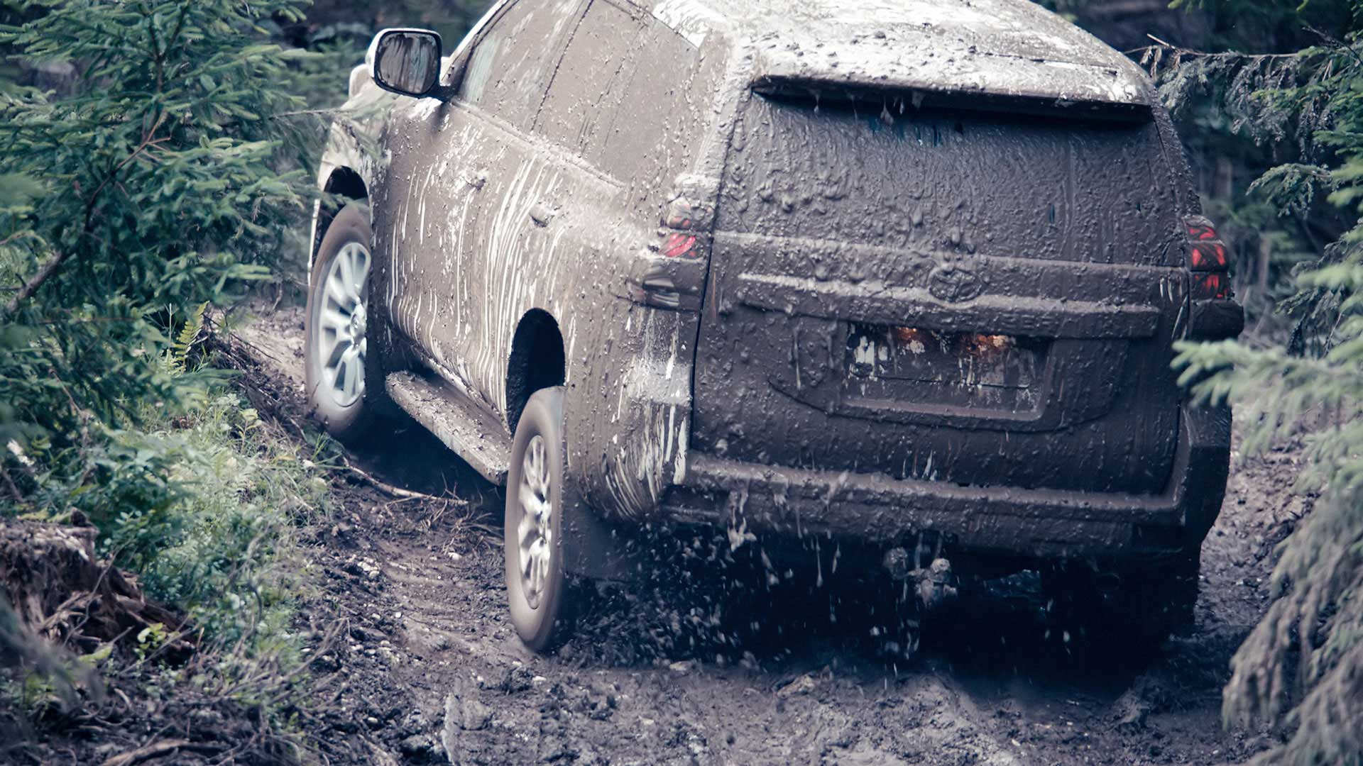 Covered with dirt. Still from Toyota Landcruiser.